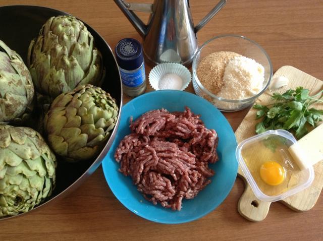 ingredienti cuori di carciofo ripieni