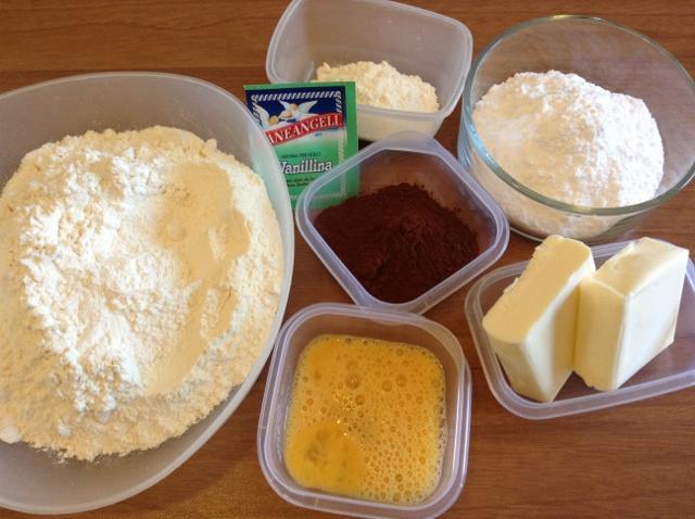 ingredienti per biscotti scacchiera