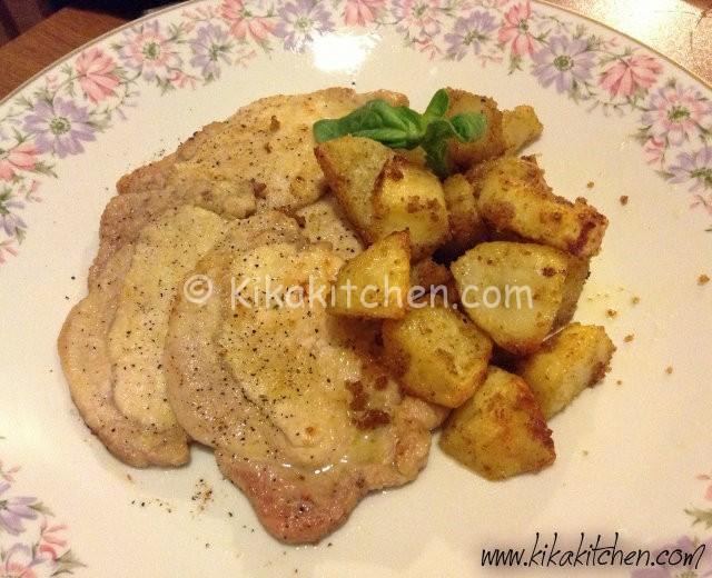 Scaloppine di arista con patate al forno croccanti