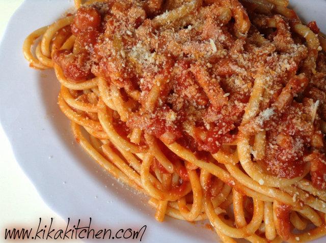 Spaghetti all'amatriciana. Ricetta passo passo