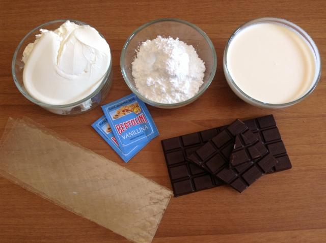 ingredienti cheesecake al cioccolato