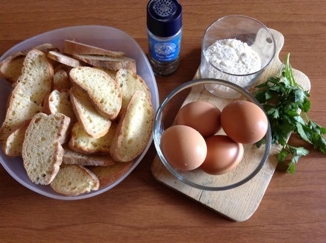 ingredienti pane fritto con l'uovo