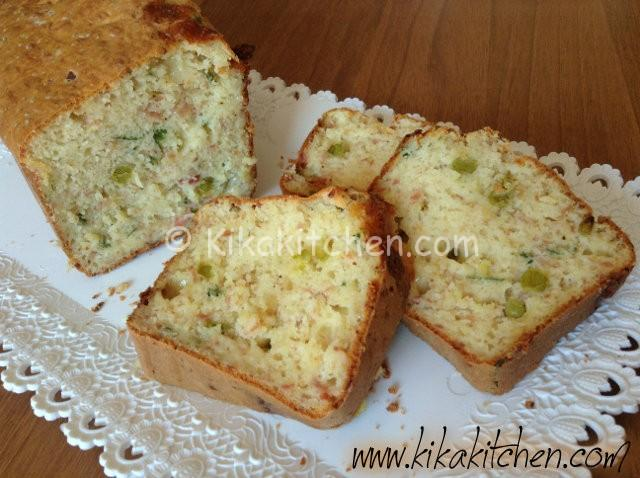 plumcake salato con prosciutto e piselli