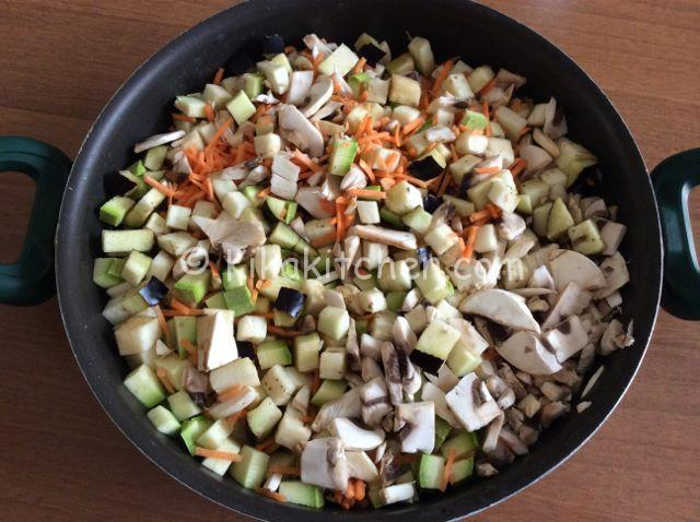 saltare le verdure per torta salata al forno