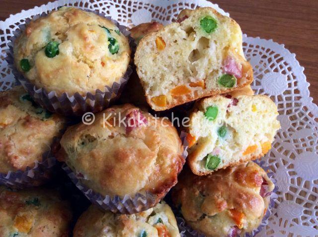 muffin con piselli carote e prosciutto