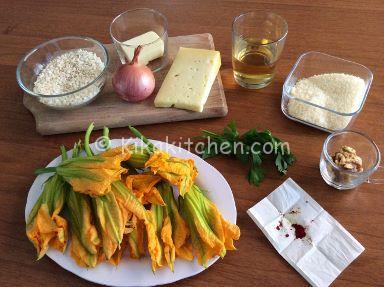 ingredienti risotto fiori di zucca e asiago