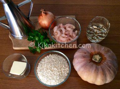 ingredienti risotto zucca e gamberetti