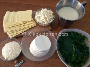 ingredienti lasagne ricotta e spinaci