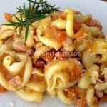 Pasta zucca e pancetta affumicata. Ricetta facile