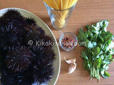 ingredienti pasta con i ricci