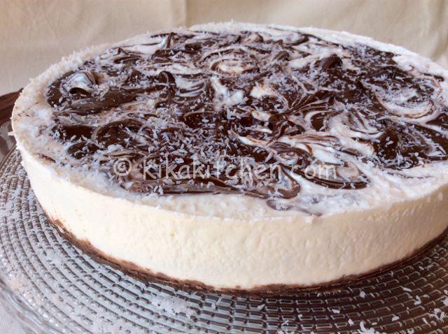 Cheesecake cocco e nutella senza cottura.