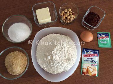 ingredienti cookies cioccolato e nocciole
