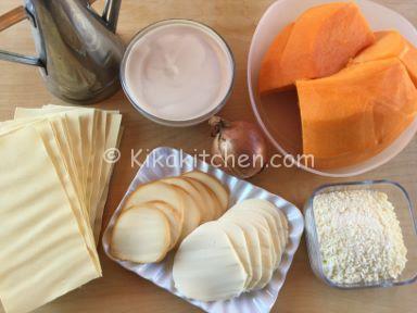 ingredienti lasagne con la zucca