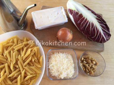 ingredienti pasta con radicchio stracchino e noci