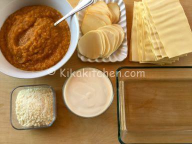 lasagne con la zucca e formaggio