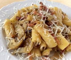 Pasta con carciofi e pancetta. Ricetta passo passo