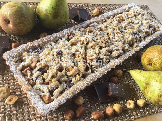 crostata rettangolare pere e cioccolato