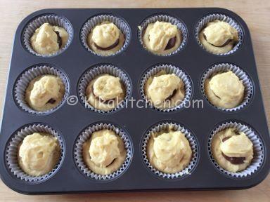 muffin con cuore di nutella morbido