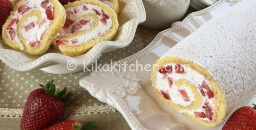 rotolo panna e fragole ricetta facile