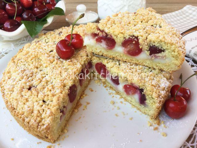 torta sbriciolata alle ciliegie ricetta