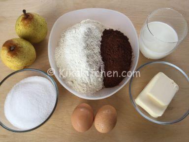 ingredienti muffin pere e cioccolato