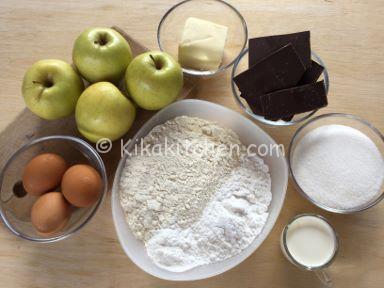 ingredienti torta di mele e cioccolato