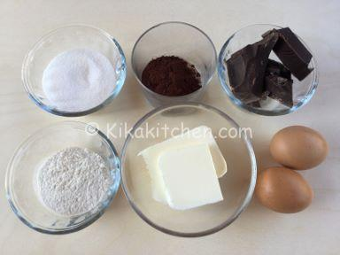 ingredienti tortino al cioccolato