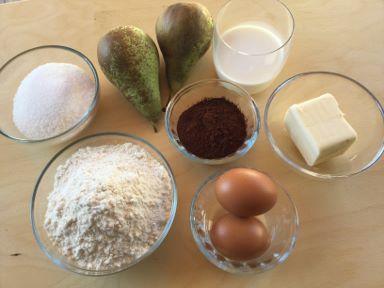 ingredienti plumcake pere e cioccolato