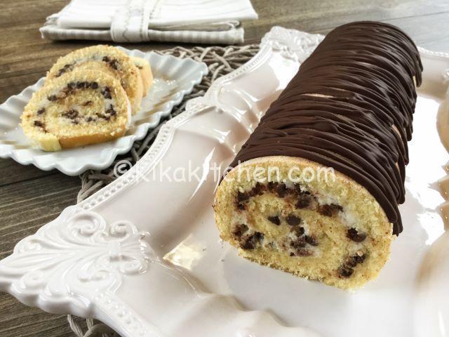 Rotolo con ricotta e gocce di cioccolato