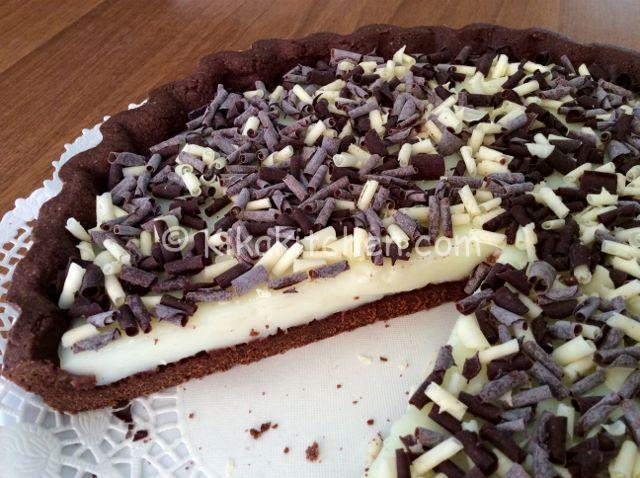 crostata con crema al latte e pasta frolla al cacao bimby