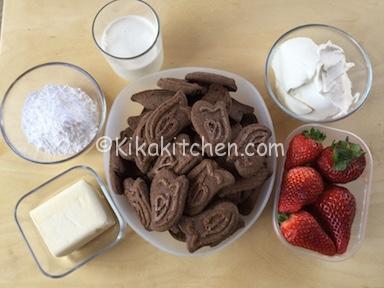 ingredienti sbriciolata senza cottura con fragole e mascarpone