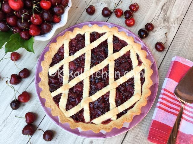 Crostata di ciliegie fresche. Ricetta passo passo