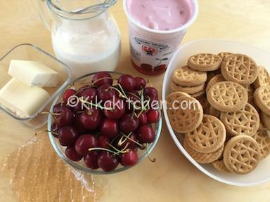 ingredienti cheesecake alle ciliegie