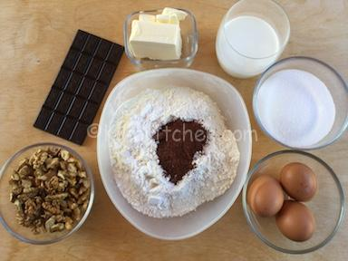 ingredienti torta noci e cioccolato