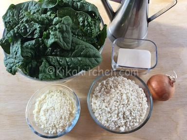 ingredienti risotto agli spinaci