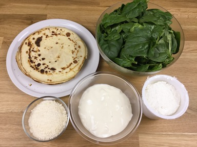 ingredienti crepes ricotta e spinaci