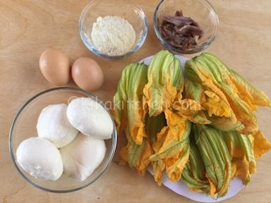 ingredienti fiori di zucca ripieni al forno