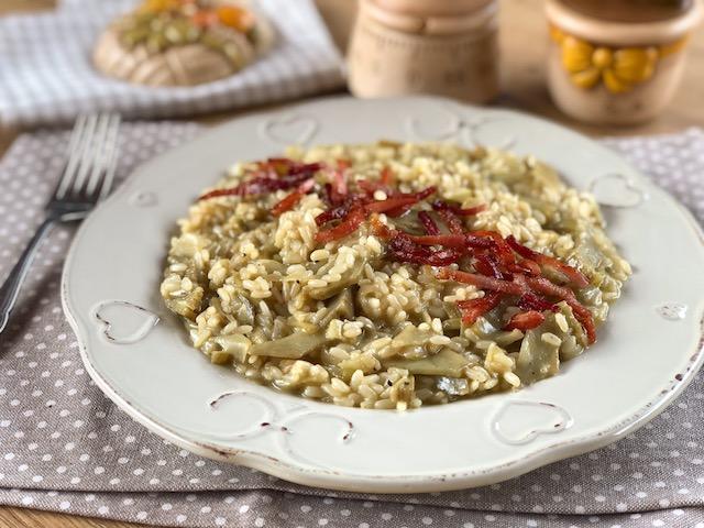 risotto con carciofi e speck
